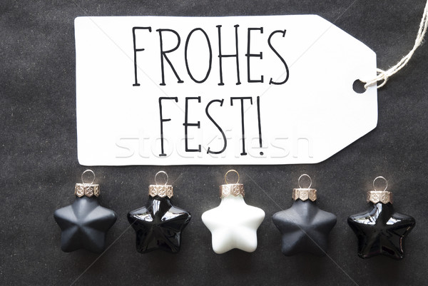 Black Tree Balls, Frohes Fest Means Merry Christmas Stock photo © Nelosa