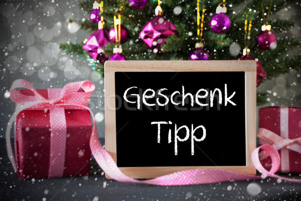 Tree With Gifts, Snowflakes, Bokeh, Geschenk Tipp Means Gift Tip Stock photo © Nelosa