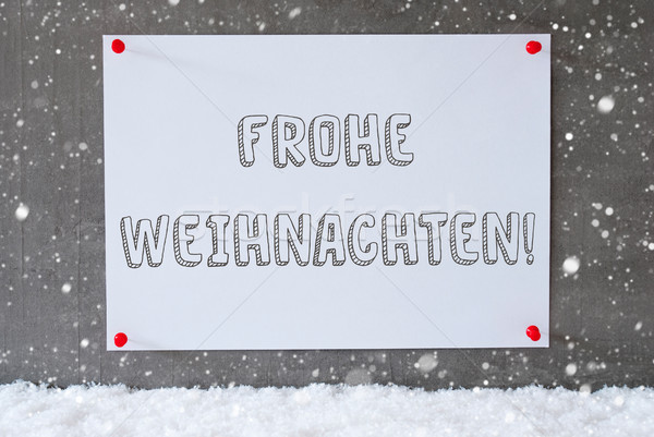 Label On Cement Wall, Snowflakes, Frohe Weihnachten Means Merry Christmas Stock photo © Nelosa