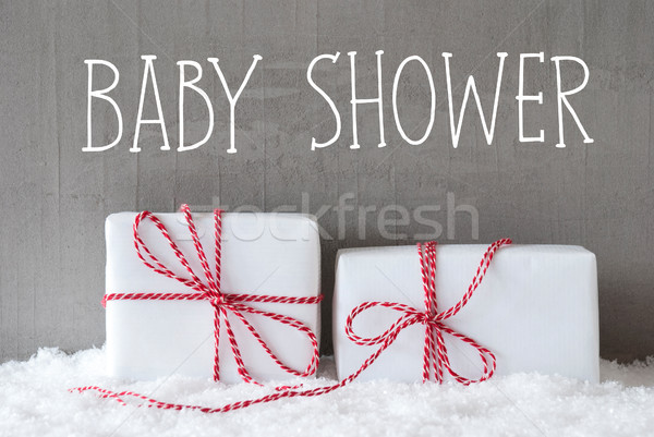 Stock photo: Two Gifts With Snow, Text Baby Shower