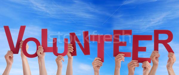 Gönüllü gökyüzü eller kelime mavi Stok fotoğraf © Nelosa