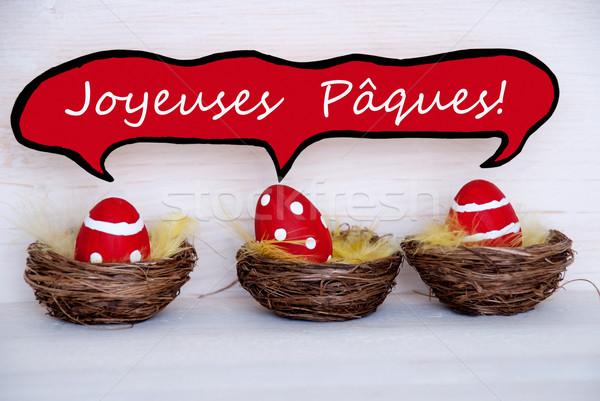Három piros húsvéti tojások képregény szöveglufi francia Stock fotó © Nelosa