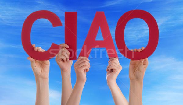 Mensen rechtdoor Italiaans woord vaarwel Stockfoto © Nelosa