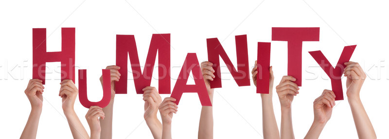 Many People Hands Holding Red Word Humanity Stock photo © Nelosa