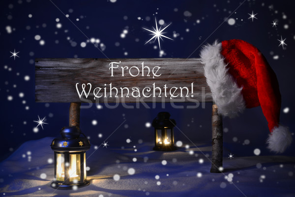 Sign Candlelight Santa Hat Fohe Weihnachten Mean Merry Christmas Stock photo © Nelosa