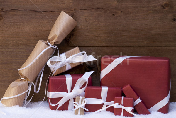 Red Christmas Gifts, Presents, White Ribbon Stock photo © Nelosa