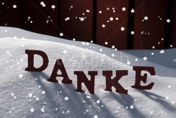 Christmas Card With Snow, Danke Mean Thank You, Snowflakes Stock photo © Nelosa