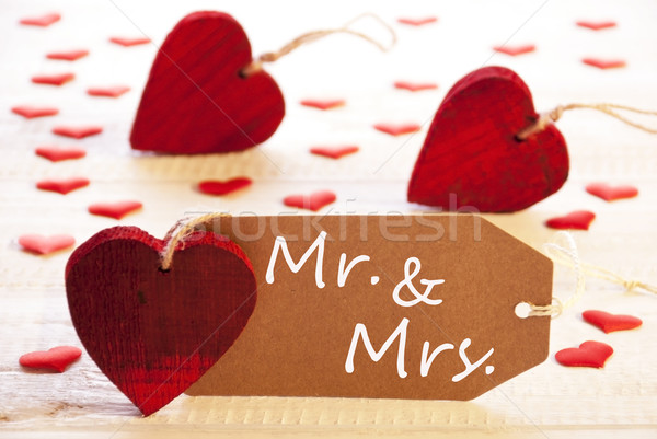 Romantic Label With Hearts, Text Mr. And Mrs.  Stock photo © Nelosa