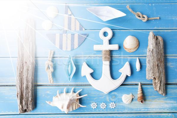 Sunny Nautic Chalkboard On Wooden Background Stock photo © Nelosa