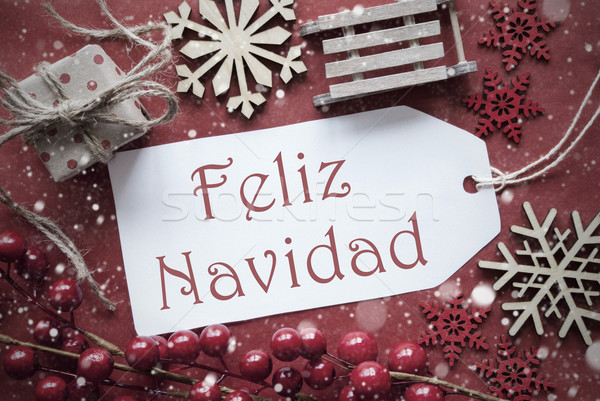 Nostalgic Decoration, Label With Feliz Navidad Means Merry Christmas Stock photo © Nelosa