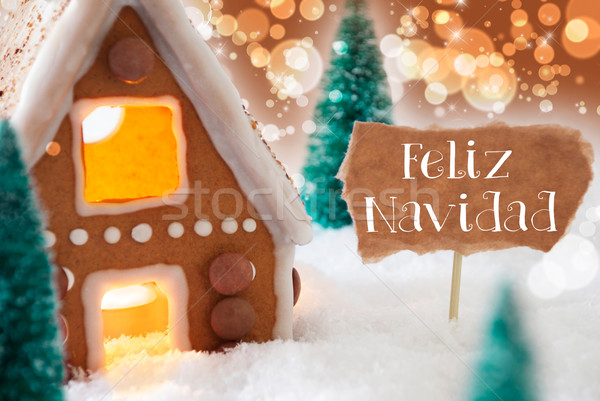 Gingerbread House, Bronze Background, Feliz Navidad Means Merry Christmas Stock photo © Nelosa