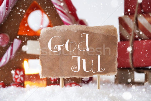 Gingerbread House With Sled, Snowflakes, God Jul Means Merry Christmas Stock photo © Nelosa