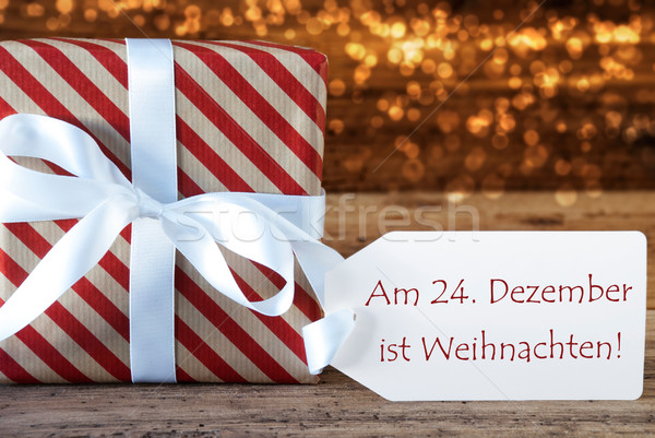 Atmospheric Gift With Label, Weihnachten Means Christmas Stock photo © Nelosa