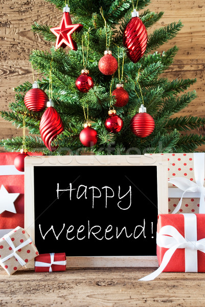 Colorful Christmas Tree With Text Happy Weekend Stock photo © Nelosa