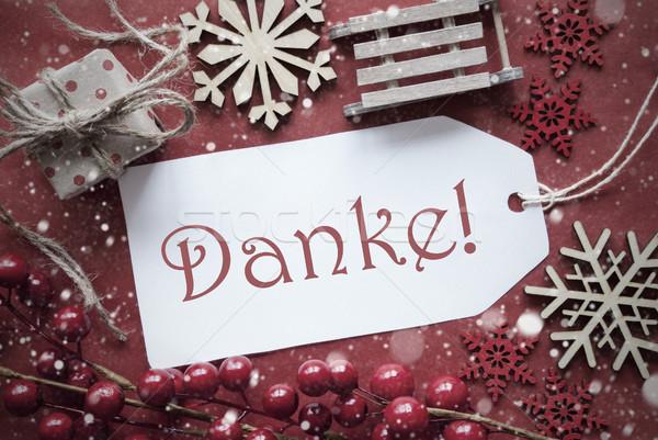 Nostalgisch christmas decoratie label dank u zoals Stockfoto © Nelosa