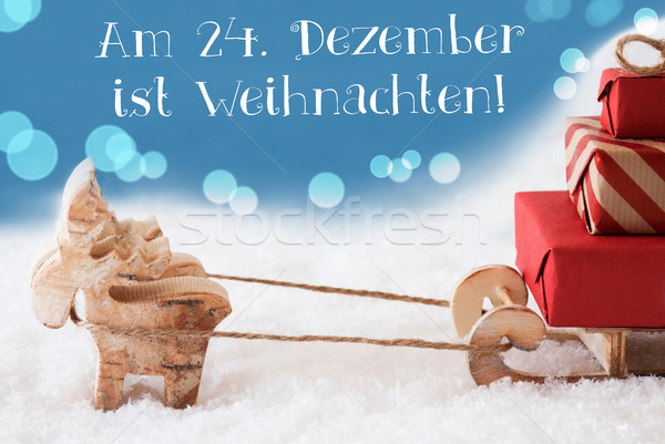 Reindeer, Sled, Light Blue Background, Weihnachten Means Christmas Stock photo © Nelosa