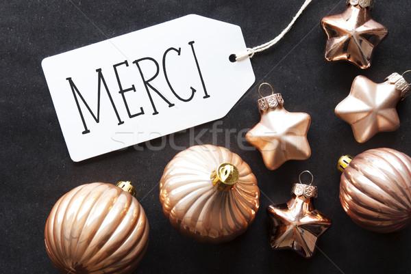 Bronz karácsonyfa golyók köszönjük címke francia Stock fotó © Nelosa