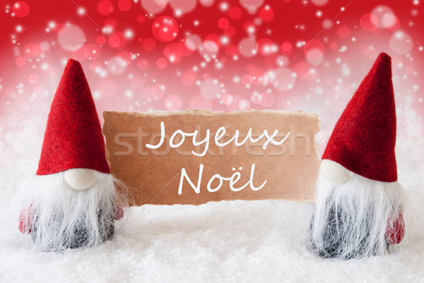 Red Christmassy Gnomes With Card, Joyeux Noel Means Merry Christmas Stock photo © Nelosa