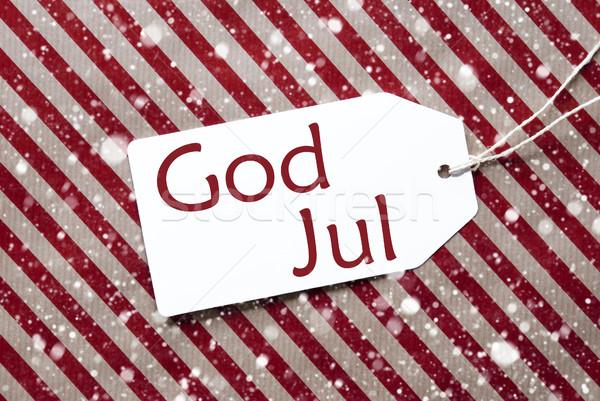 Címke piros papír hópelyhek Isten vidám Stock fotó © Nelosa