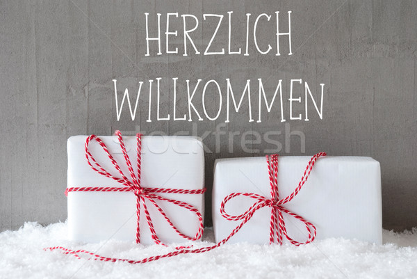 Two Gifts With Snow, Herzlich Willkommen Means Welcome Stock photo © Nelosa