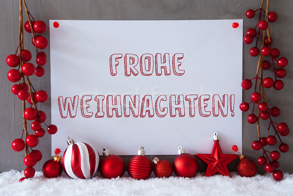 Label, Snow, Balls, Frohe Weihnachten Means Merry Christmas Stock photo © Nelosa