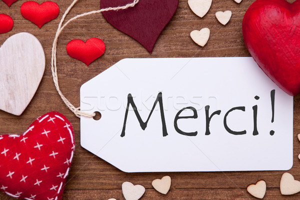 Label, Red Hearts, Flat Lay, Merci Means Thank You Stock photo © Nelosa