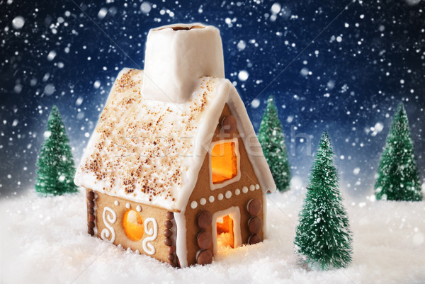 Gingerbread House On Snow With Snowflakes And Blue Background Stock photo © Nelosa