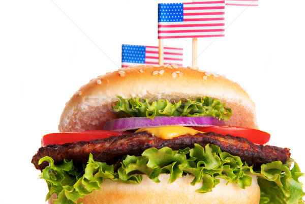 Hamburger with American Flags Stock photo © Nelosa