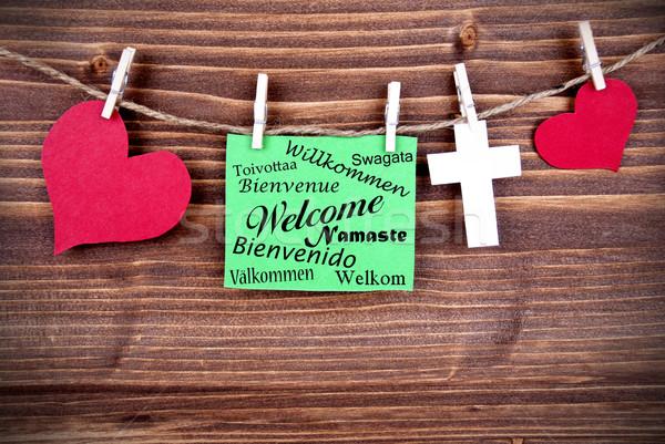 Groene label welkom verschillend talen tag Stockfoto © Nelosa