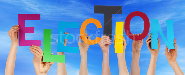 Many People Hands Holding Colorful Word Election Blue Sky Stock photo © Nelosa