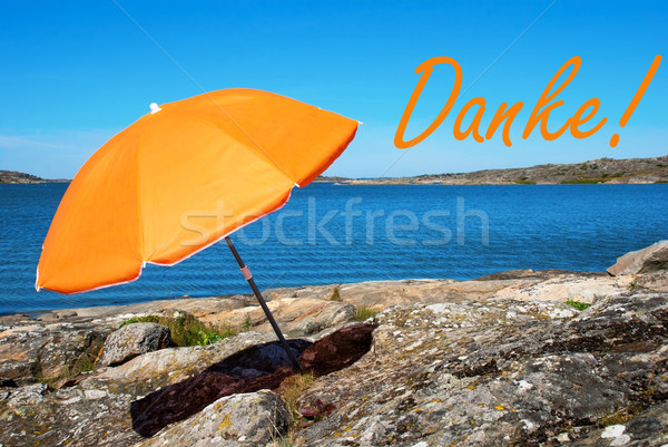 Swedish Coast With German Danke Means Thank You Stock photo © Nelosa