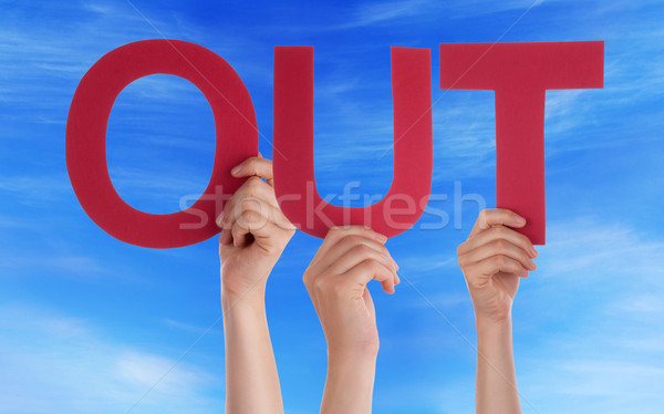 Many People Hands Holding Red Straight Word Out Blue Sky Stock photo © Nelosa