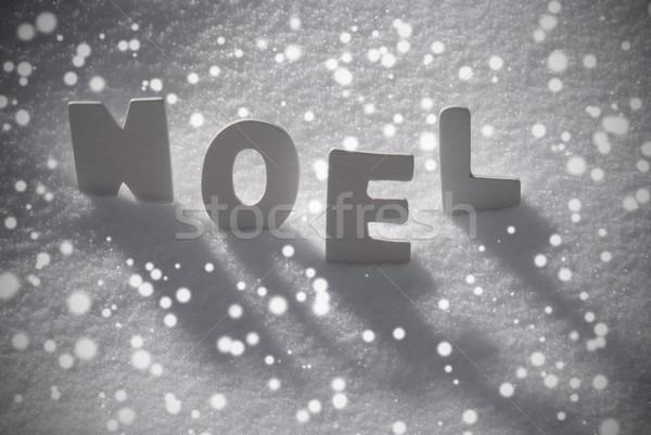 White Word Noel Means Christmas On Snow, Snowflakes Stock photo © Nelosa
