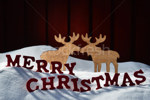 Card With Red Letter, Moose Couple, Snow Merry Christmas Stock photo © Nelosa