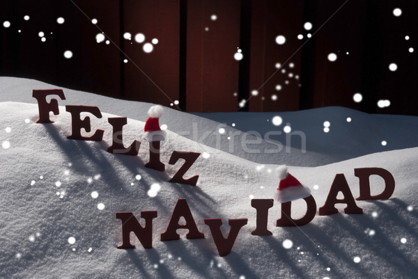 Card With Santa Hat, Snowflakes, Feliz Navidad Mean Christmas Stock photo © Nelosa