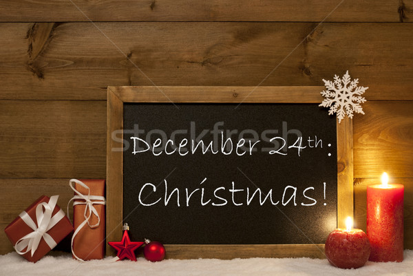 Festive Christmas Card, Blackboard, Snow, Candles, December 24th Stock photo © Nelosa