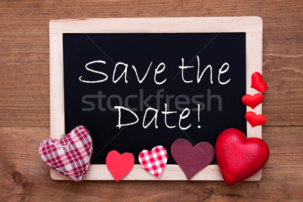 Blackboard With Textile Hearts, Text Save The Date Stock photo © Nelosa