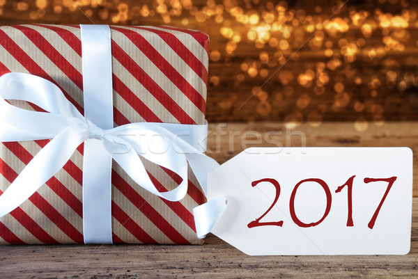 Stock photo: Atmospheric Christmas Gift With Label, Text 2017
