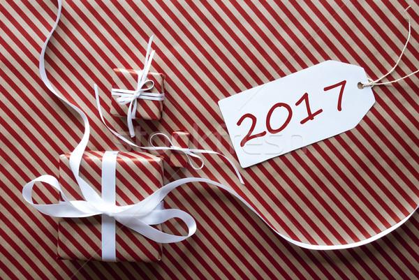 Iki hediyeler etiket metin hediyeler beyaz Stok fotoğraf © Nelosa