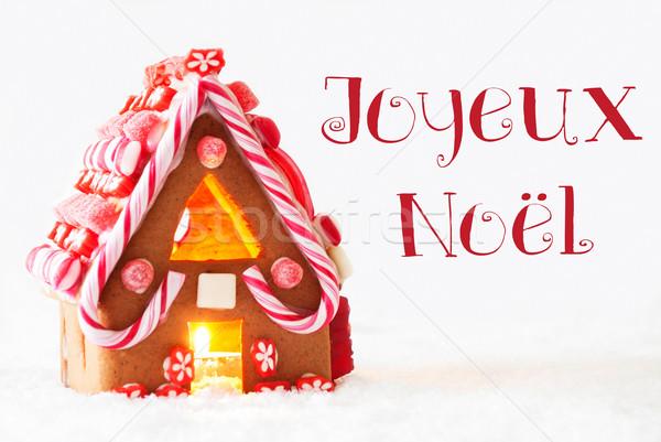 Gingerbread House, White Background, Joyeux Noel Means Merry Christmas Stock photo © Nelosa