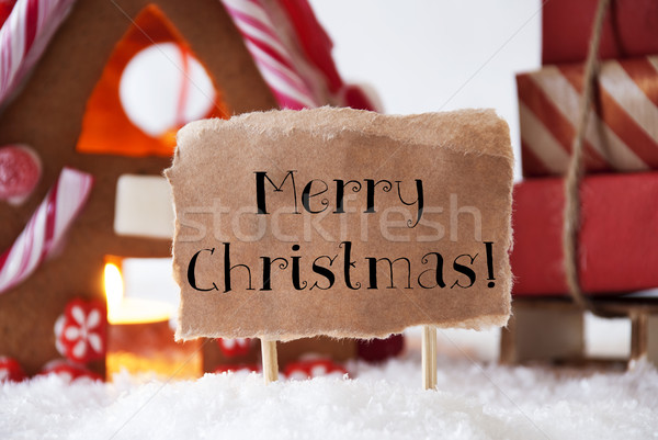 Gingerbread House With Sled, Text Merry Christmas Stock photo © Nelosa