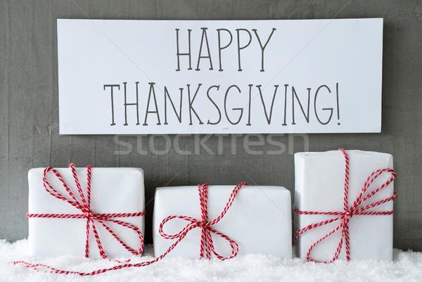 White Gift On Snow, Text Happy Thanksgiving Stock photo © Nelosa