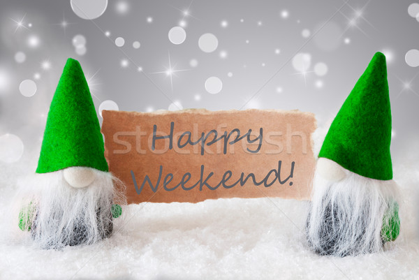 Green Gnomes With Card And Snow, Text Happy Weekend Stock photo © Nelosa
