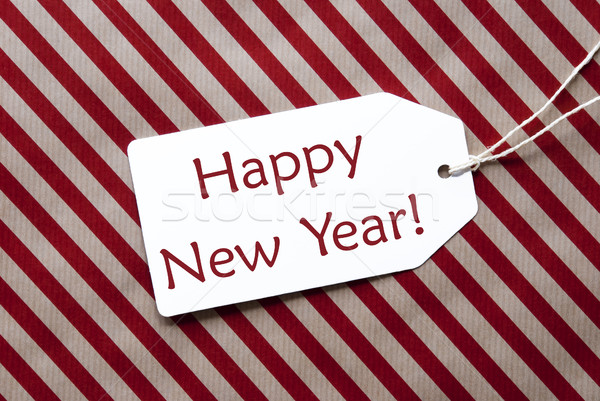 Label On Red Wrapping Paper, Text Happy New Year Stock photo © Nelosa