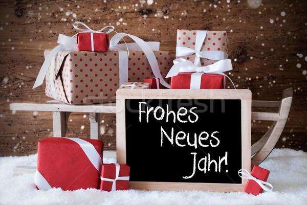 Stockfoto: Slee · geschenken · sneeuw · sneeuwvlokken · nieuwjaar · schoolbord