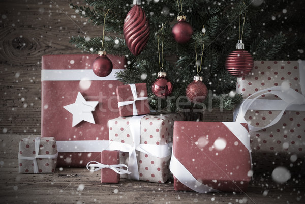 Nostalgic Christmas Tree With Gifts And Balls, Snowflakes Stock photo © Nelosa