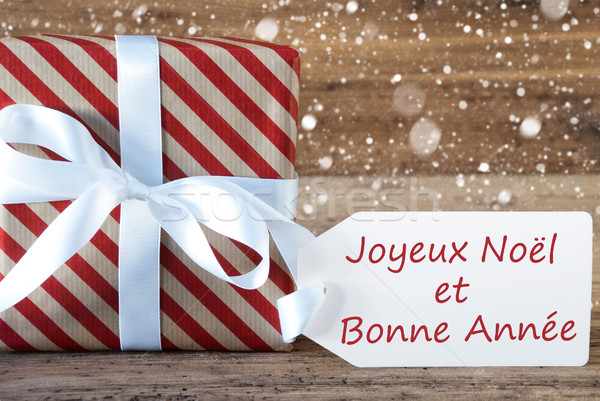 Present With Snowflakes, Text Bonne Annee Means New Year Stock photo © Nelosa