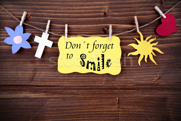 Yellow Label With Life Quote Dont Forget To Smile Stock photo © Nelosa