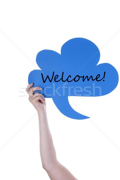 Blue Speech Balloon With Welcome Stock photo © Nelosa