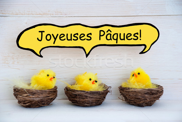 Three Chicks With Comic Speech Balloon French Joyeuses Paques Means Happy Easter Stock photo © Nelosa